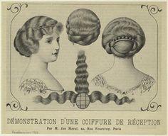 Démontration d'une coiffure de réception. (1913)  I rather love the creepy hair parting diagram.