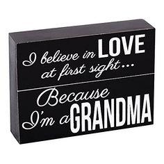 I Believe Grandma 6 x 4 Black and White Wood Brick Plaque...…
