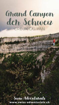 Eines der schönsten Ausflugsziele der Schweiz - Creux du Van. Ein Tagesausflug zum Creux du Van ist das perfekte Programm für einen sonnigen, nicht zu heissen Sommertag. Der Creux du Van ist ein riesiger Talkessel von über einem Kilometer Durchmesser, der besonders durch seine über 160m hohen Steilwände eine absolut atemberaubende Kulisse bietet! Grand Canyon, Vans, Movie Posters, Movies, One Day Trip, Road Trip Destinations, Switzerland, Film Poster, Films