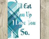 Ill eat you up blue nursery printable, where the wild things are jpg, kids room wall art blue jpg quote poster digital download, plaid print