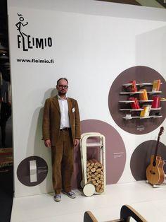 The founder of Fleimio - Mr Jussi Leimio - at IMM Cologne with the Fleimio assortment  Jan 2015