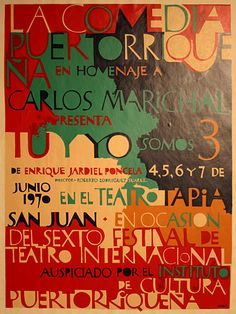 "Lorenzo Homar – Born in the ""Barrio"" Puerta de Tierra of San Juan, Puerto Rico, is considered by many to be Puerto Rico's greatest graphic artist. http://www.puertoricanposters.com/posters/100"