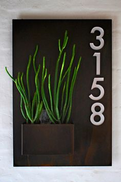 Welcome Home. City Planter with Address Numbers by Potted