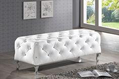 Baxton Studio Stella Crystal Tufted White Modern Bench