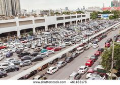 Bangkok, Thailand - June 5, 2016 : Car park at Bangkok view from Jatujak sky train station