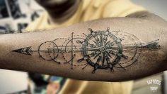 Geometric compass tattoo ink me compass tattoo, tattoos и un Compass Tattoos Arm, Viking Compass Tattoo, Tribal Arm Tattoos, Compass Tattoo Design, Arrow Tattoos, Forearm Tattoos For Guys, Arm Tattoo Men, Geometric Tattoos, Skull Tattoos