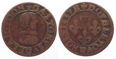 1637 Frankreich - Dombes France DOMBES Double Tournois 1637 GASTON d'ORLEANS copper aVF # 81842 VF- Coin Prices, Shops, Gaston, Decorative Plates, Coins, France, Home Decor, Copper, Antiquities