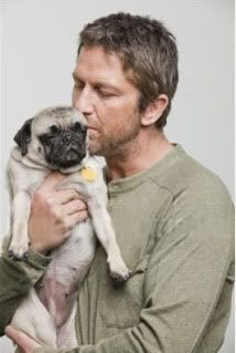 Gerard Butler and his pug Lolita - OMG, I didn't think I could possible love him more!