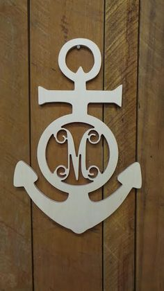 "Unfinished 24"" Wooden Anchor with Vine Script Initial - Personalized Anchor Door Hanger - Ready To Finish - Natutical Home Decor"