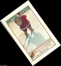 C021 SANTA WALKS AWAY WITH BAG OVER SHOULDER RABBIT WATCH SHADOW 1916 POSTCARD  #Christmas