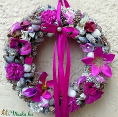 Lila kopogtató (22 cm)  (pinkrose) - Meska.hu 4th Of July Wreath, Wreaths, Home Decor, Room Decor, Garlands, Home Interior Design, Decoration Home, Floral Arrangements, Flower Garlands