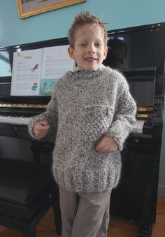 boys kids angora sweater, photo from le lapin d'Alice knitting pattern, fuzzy fluffy childs childrens