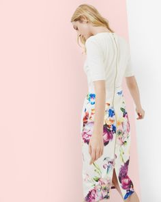 Tapestry Floral midi dress - Pale Yellow | Dresses | Ted Baker