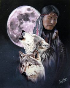 Image detail for -Pastel Native American and Wolf Fine Art