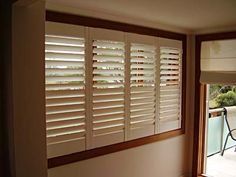 #Cedar #Shutters cover the lower part of window for your privacy & opening top section allow light to flood into room.