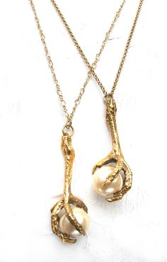 Gold Pigeon Claw Pendant Holding a Large Pearl