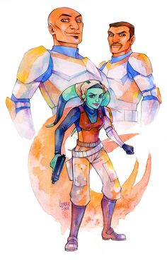 """Waxer and Boil with """"all grown up"""" Numa from Star Wars: Rebels. Art by Lorna-ka. ~ I think they would be so proud of her for standing up and fighting for freedom!"""