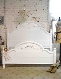 Painted Cottage Romantic French Queen / Full by paintedcottages Country Furniture, Shabby Chic Furniture, Vintage Furniture, White Sleigh Bed, French Bed, Painted Cottage, Full Bed, Headboards For Beds, White Bedding