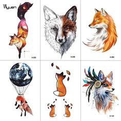 Model Number: A-020 Size: 9.8*6cm Type: Temporary Tattoo Type: Temporary Tattoo Material: Water Transfer Paper/Ink/Glue Pattern: Fox Colors: Mixing Weight: 2g Feature: Waterproof & Sweatproof Application: Neck / Hand / Shoulder / Waist / Sleeve / Back Gender: Women / Men / Girl / Boy / Adult Duration: Normally 3-5 days ODM/OEM: Yes