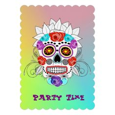 Colorful, bright and trendy sugar skull and roses on a rainbow card; party time invitations, ideal for teenagers or young adult celebration parties. A fun party invitation all ready for you to customize with your personal birthday or event details.