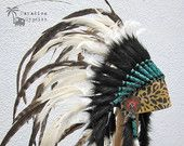 Tribal Natural White Feather, Turquoise Scroll & Leopard Leather Headdress