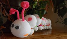 Luv Bug Sock Caterpillar - no sew, using sock, polyfill, pipe cleaner and hair ties (or rubberbands).