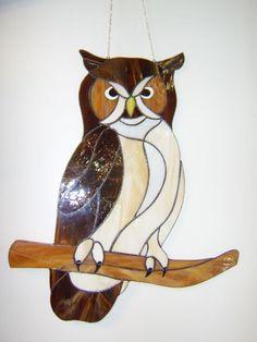 Owl Tiffany Stained Glass Suncatcher