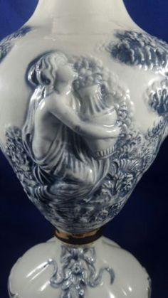 "Huge Italian Vintage Keramos R Capodimonte Blue 37.5cm 15"" Large Urn Vase Italy"
