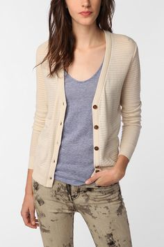 Nice ivory/cream cardigan. Would also get it in black. #UrbanOutfitters
