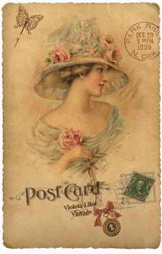 Pretty Postcard with vintage image Vintage Abbildungen, Images Vintage, Vintage Labels, Vintage Ephemera, Vintage Pictures, Vintage Paper, Vintage Cards, Vintage Prints, Vintage Woman