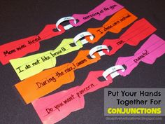 Relentlessly Fun, Deceptively Educational: Put Your Hands Together for Conjunctions (Free Printable Hands Template) Grammar Activities, Teaching Grammar, Grammar Lessons, Writing Lessons, Teaching Writing, Student Teaching, Teaching English, English Grammar, Teaching Ideas