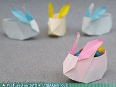 origami easter bunny baskets
