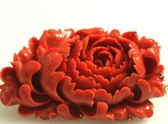 Antique Italian coral peony brooch.  If you love this check out Renaissance Fine Jewelry in Vermont.