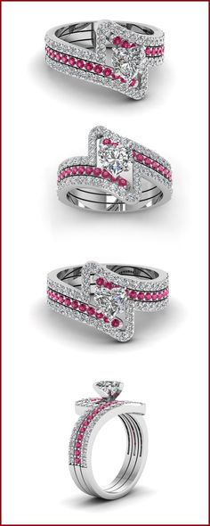 Rose Gold Heart Shaped Trio Diamond Wedding Ring Set in Pink Sapphires