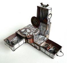 """Von Pappe II: Matchbox Steampunk - August challenge """"chez SanDee&amelie's"""""""