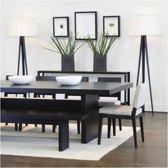 dining room tables modern dining room table and chairs oazi contemporary dining room sets Dining Table With Bench, Modern Dining Room Tables, Dining Room Design, Kitchen Tables, Oak Table, Modern Table, Black Dining Table Set, Kitchen Dining, Zen Kitchen
