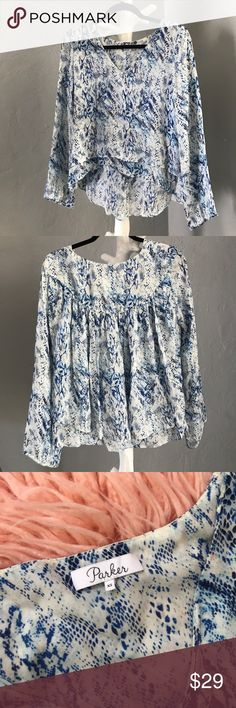 "Parker Duncan Blue Snake Print Silk Blouse Parker Blue Snake Print, Long flutter Sleeve, multi-layers, lovely pleated detail on the back, EUC, Size: XS  Front length: 13.5"" Rear length: 24"" Bust laying flat: 20"" Parker Tops Blouses"