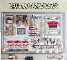 Organized Crafts on Extra Large Pegboard | OrganizingMadeFun.com