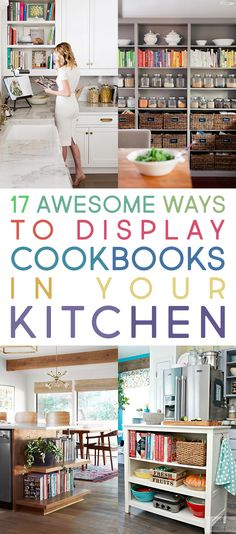 17 Awesome Ways To Display Cookbooks in Your Kitchen. Here are some great ideas on how to display your Cookbooks! Vignettes and other ways to shine a spotlight on them Cookbook Display, Cookbook Organization, Cookbook Storage, Cookbook Shelf, Organization Ideas, Organizing, Kitchen Tops, Diy Kitchen, Kitchen Decor