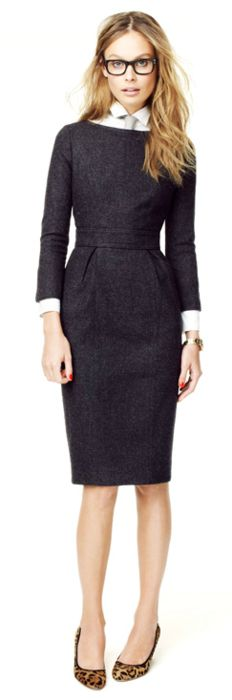 Another elegant yet edgy office look - make sure you hem skirts and dresses just above knee