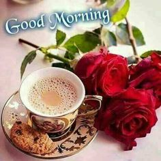 Good morning (red rose flowers with cup of coffee & cookies). Good Morning Flowers, Good Morning Picture, Morning Pictures, Morning Images, Morning Quotes, Good Morning Coffee Cup, Coffee Break, Gd Morning, I Love Coffee