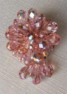 Vintage 1950's Pink Crystal Brooch