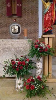 Altar Flowers, Church Flower Arrangements, Floral Arrangements, Christmas Flower Decorations, Christmas Wreaths, Christmas Tree, Holiday Decor, Funeral Sprays, Painted Plant Pots