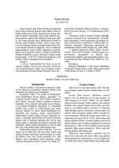 Selim Dîvâne (Ö. 1170/1757) Aslen Kırımlı olan Selim Divâne, kaynaklarda Şeyh Selim el-Kırımî, Kırımlı Selim Baba, Selim e...