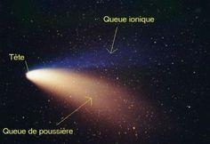 Astre présentant un noyau brillant (tête) et une traînée gazeuse (chevelure et queue), qui décrit une orbite en forme d'ellipse autour du Soleil. De comete (an 1140), du latin cometes, komêtês, de …