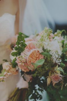 Peach Peony and Greenery Bouquet | photography by http://acarrollphotography.com/