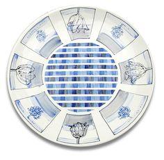 Maurice Christo van Meijel: Polderlandschap (2010) schildering op keramiek, doorsnede 43 cm. (particuliere collectie) (www.mauricechristo.com) Blue And White, Tags