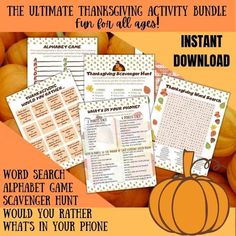 The ULTIMATE Thanksgiving Activity Bundle for all ages Word   Etsy Thanksgiving Words, Thanksgiving Activities, Holiday Activities, Activities To Do, Photo Scavenger Hunt, Alphabet Games, Would You Rather, Fun Games, Word Search