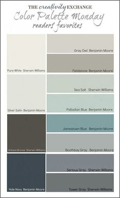 Readers' Favorite Paint Colors {Color Palette Monday} I hope you guys had a fantastic weekend and a great of July! This week for Color Palette Monday, I've pulled a palette together of readers' favorite paint colors from feedback over the last 12 week Interior Paint Colors, Paint Colors For Home, Paint Colours, Modern Paint Colors, Neutral Paint, Interior Design, Gray Paint, Paint Colors For Living Room, Paint Colors With White Trim