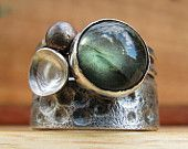 Sterling Silver Ring of Balancing Rocks & Blue Turquoise. $174.00, via Etsy.